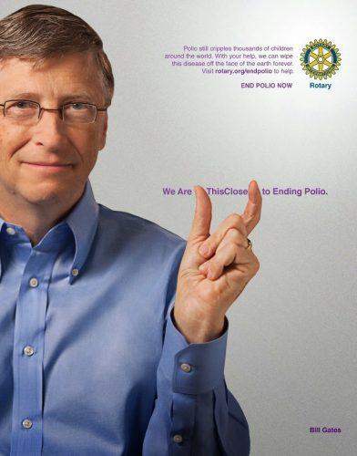 Bill Gates dalam kampanye Rotary Club untuk pemberantasan Polio