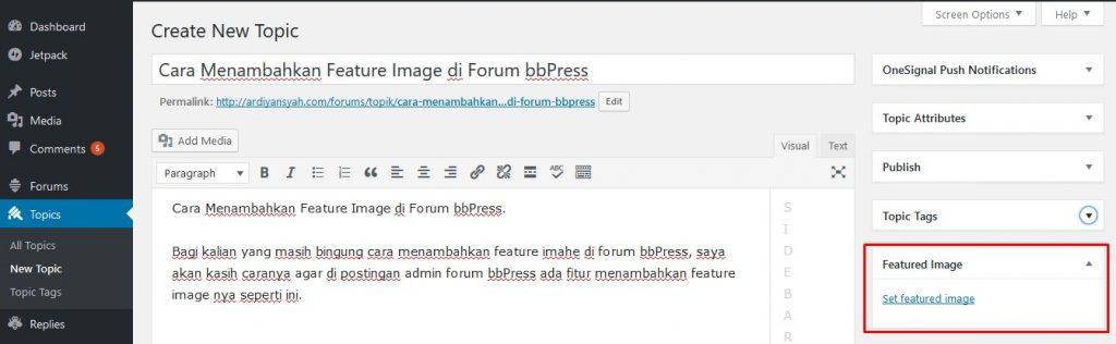 Cara Menambahkan Feature Image di Forum bbPress