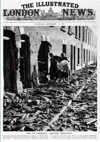 "Sebuah pemandangan ""bom Jerman dari London,"" diambil dari sampul Illustrated London News"